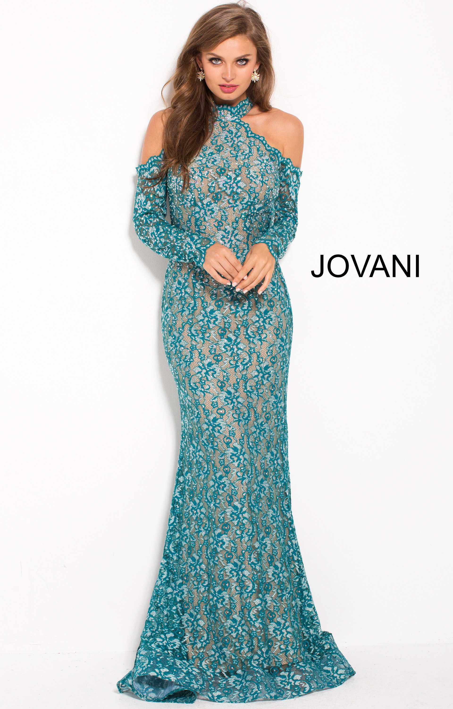 Jovani 58376 - Full Length Lace Gown with Cold Shoulder Cut-Outs ...