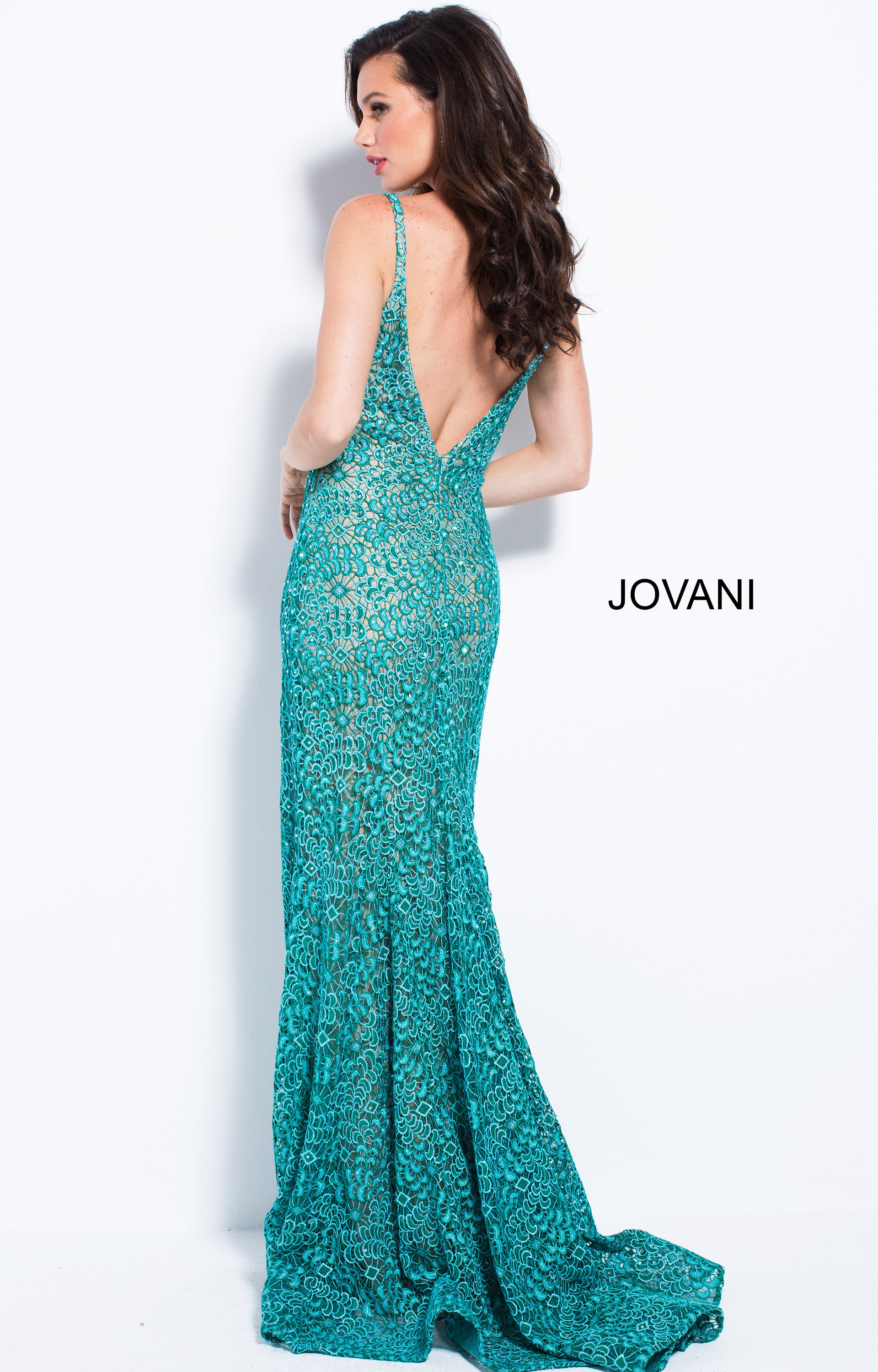 Jovani 58433 - Plunging V-Neck Lace Gown with Side Slit Prom Dress