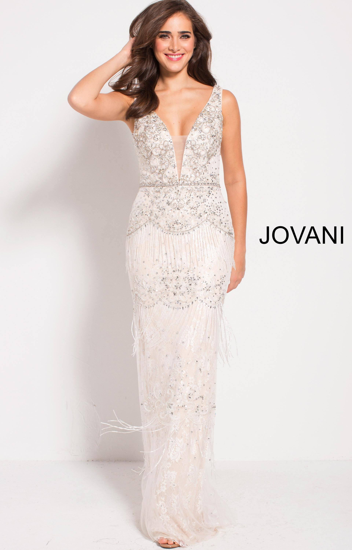 d0712b715a4 Jovani 59116 - Deep V-Neckline Open Back Fitted Fringe Dress
