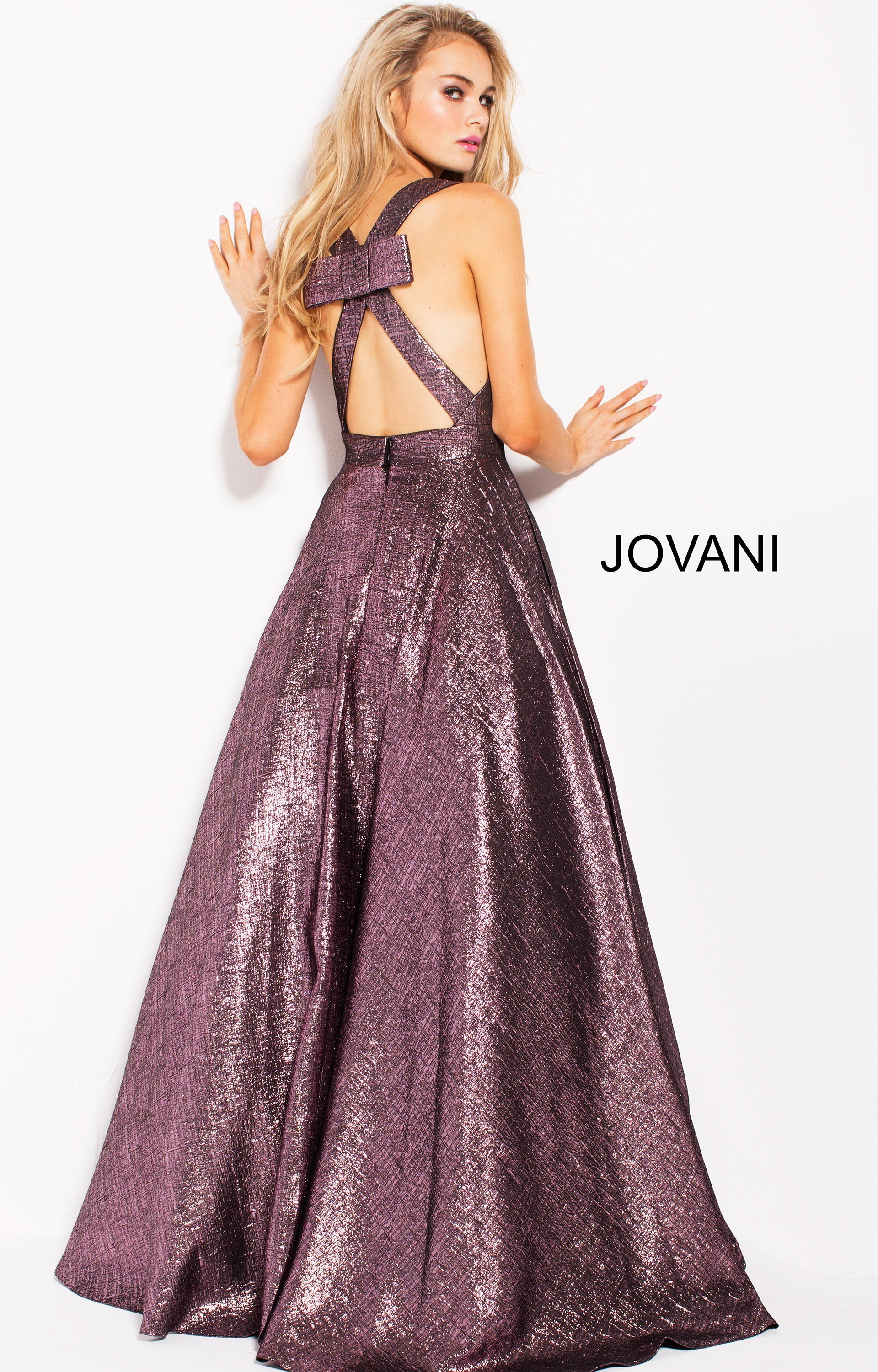 Jovani 59210 Deep V Neckline Open Back Ball Gown Dress