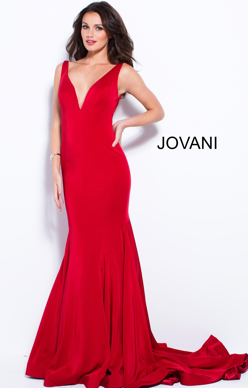 Jovani 59300 - V-Neckline Fitted Simple Mermaid Dress Prom