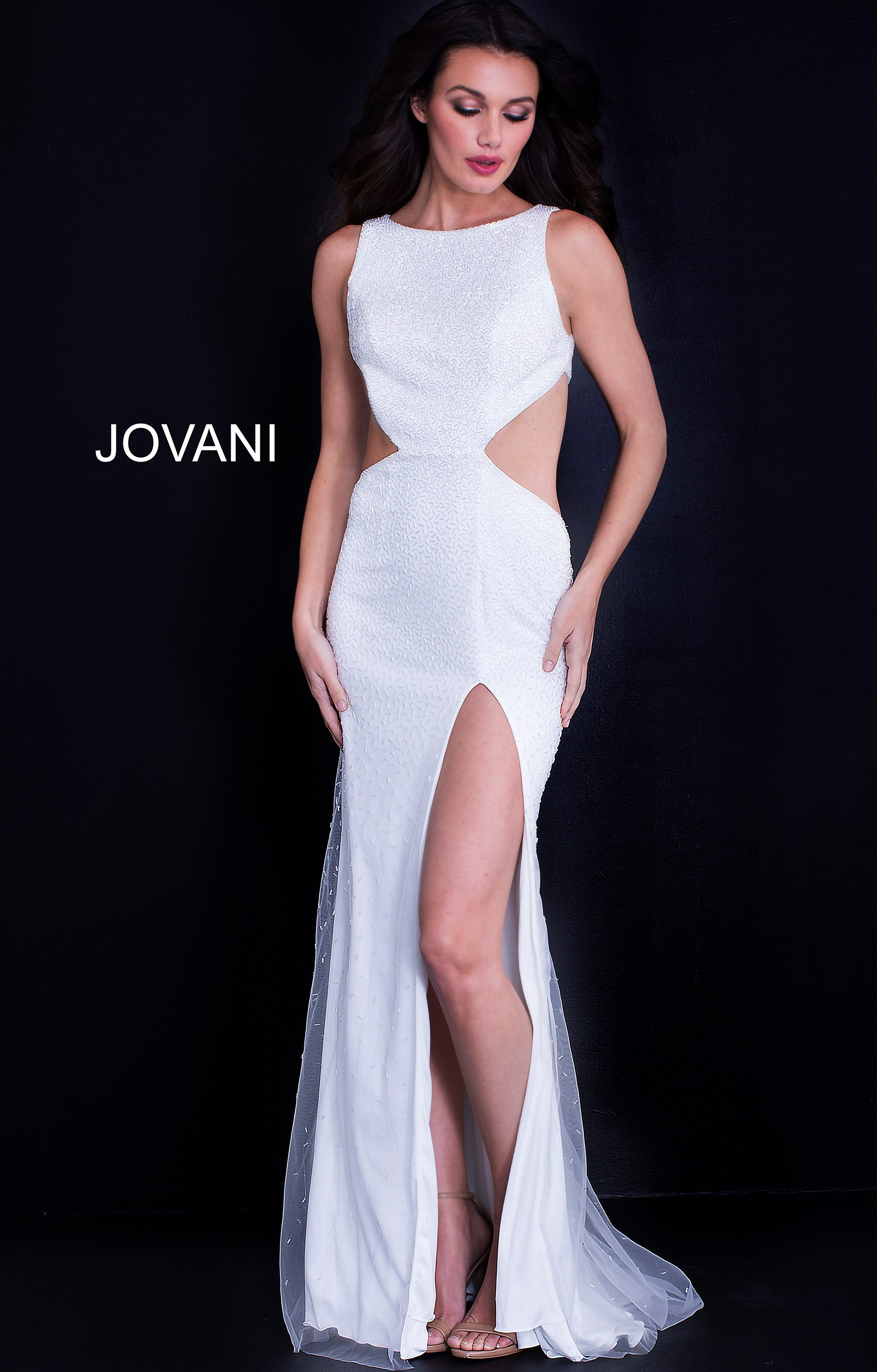 Jovani 59655 - High Neck Gown with Side Cutouts and Open Back Prom Dress