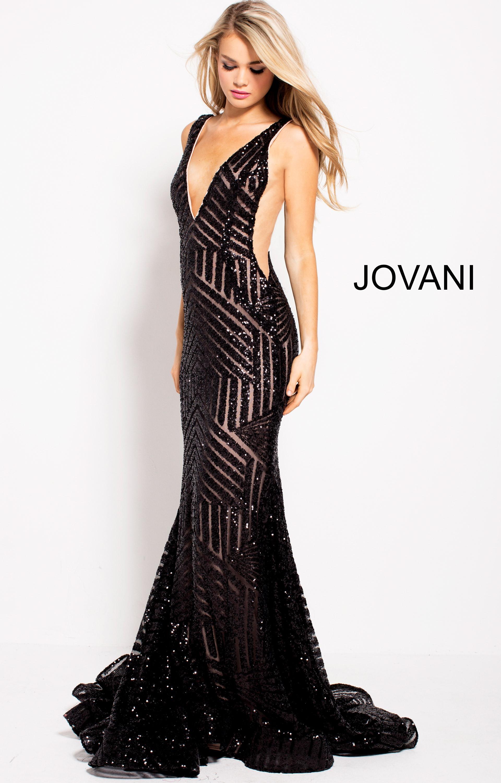 065a48b981d Jovani 59762 - V Neck Fitted Open Back Prom Dress