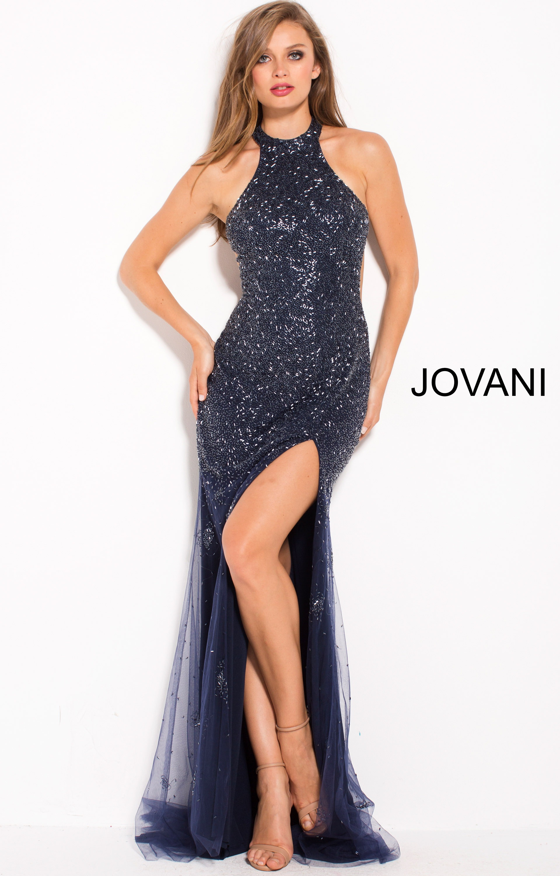 071feadf6bd Jovani 59819 - Fitted High Neck Fully Embellished Dress Prom Dress