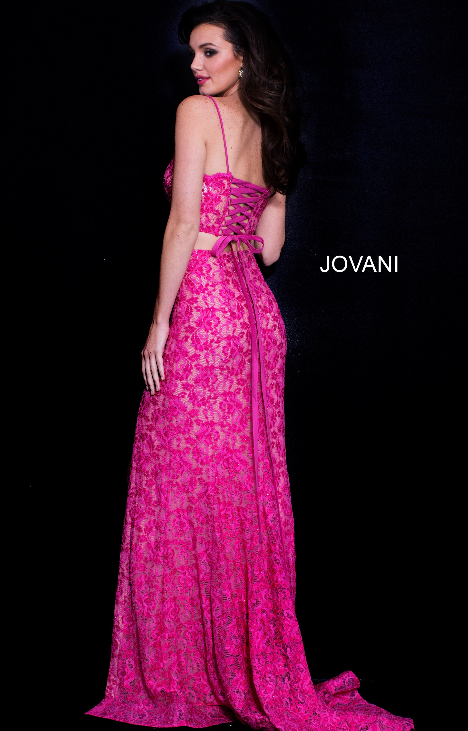 Jovani 60373 - Long Fitted Lace Open Back Evening Dress Prom Dress