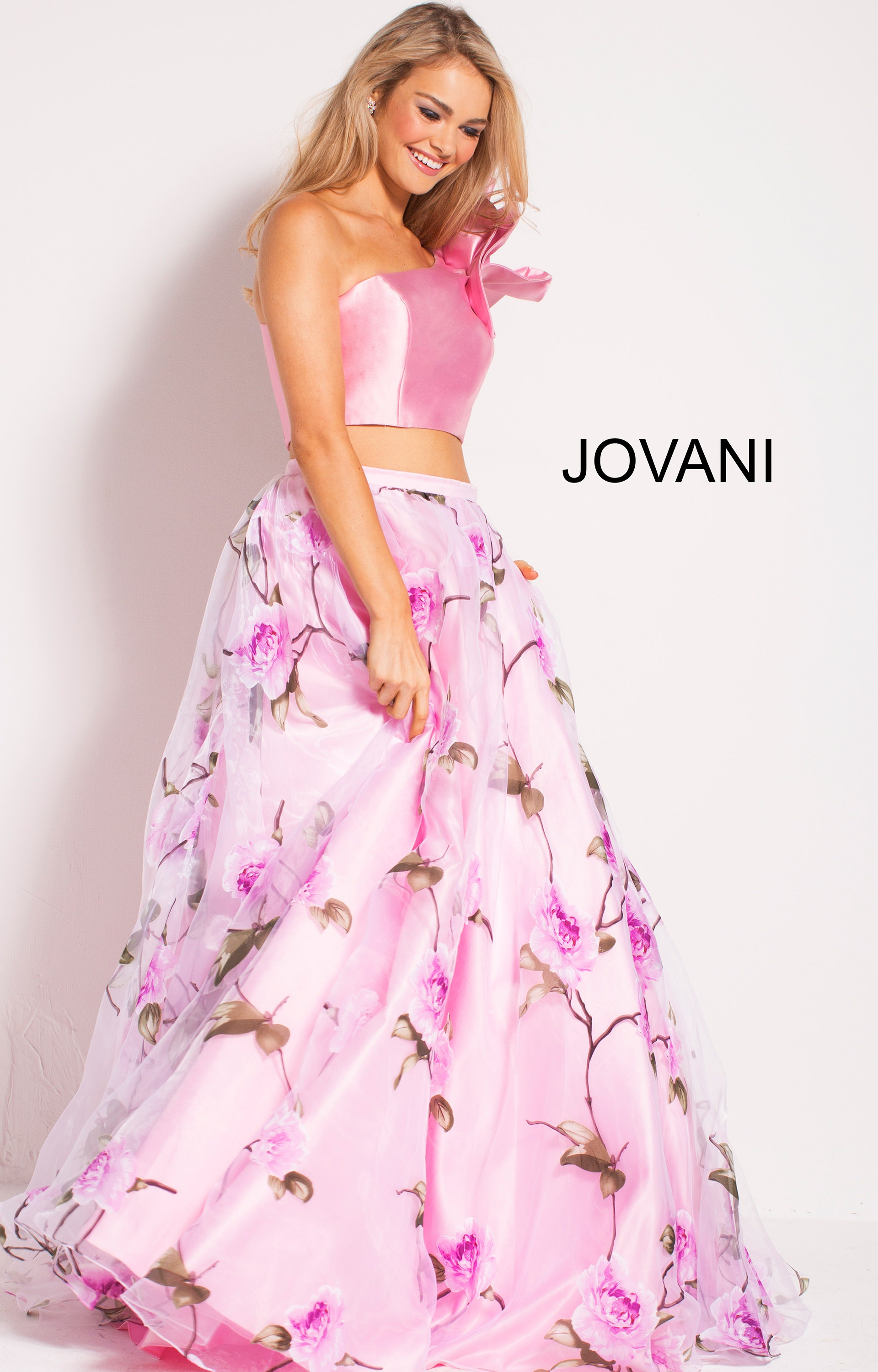 Jovani 60771 - 2 Piece Ruffle Sleeve Ball Gown Floral Dress Prom Dress