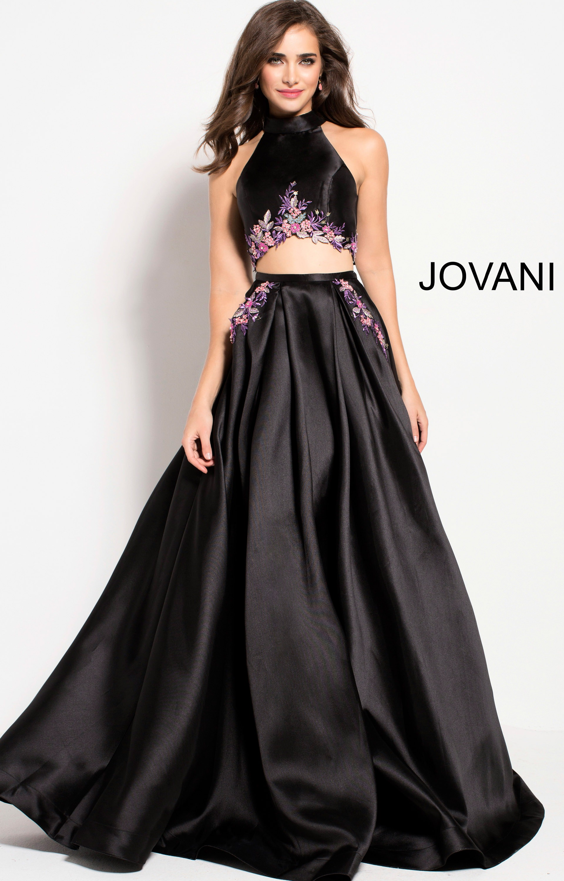 38d401a487a3 Jovani 60891 - High Neckline Satin 2 Piece Ball Gown