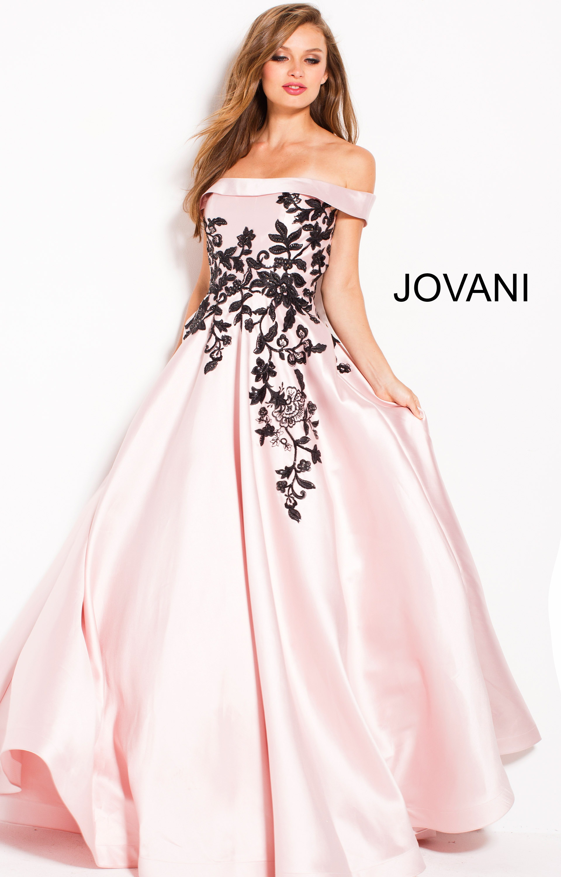 Jovani 61205 Off The Shoulder Ball Gown Dress Prom Dress