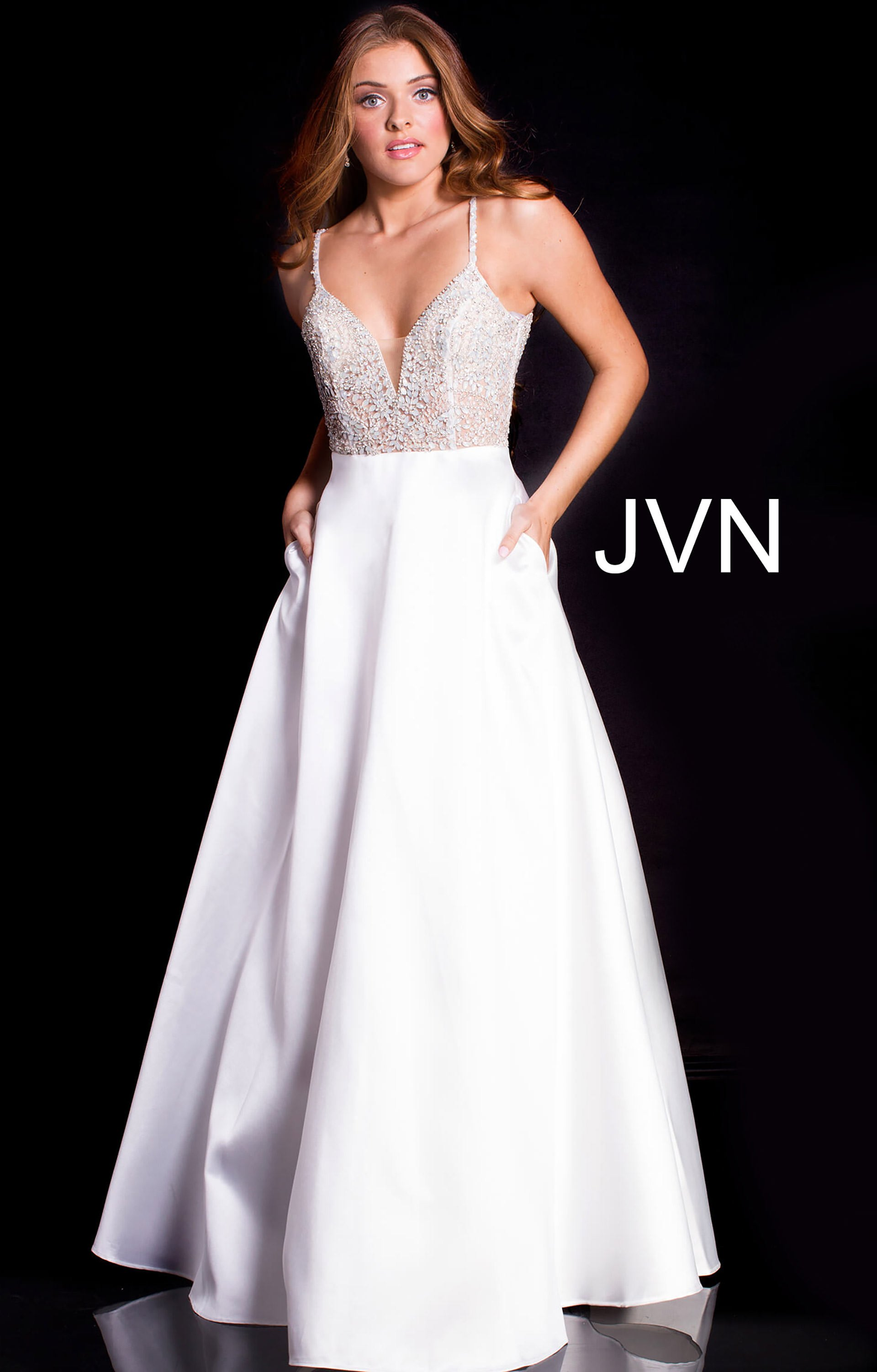 Jovani jvn51488 - V-Neckline Beaded Bodice Satin Ball Gown Dress ...