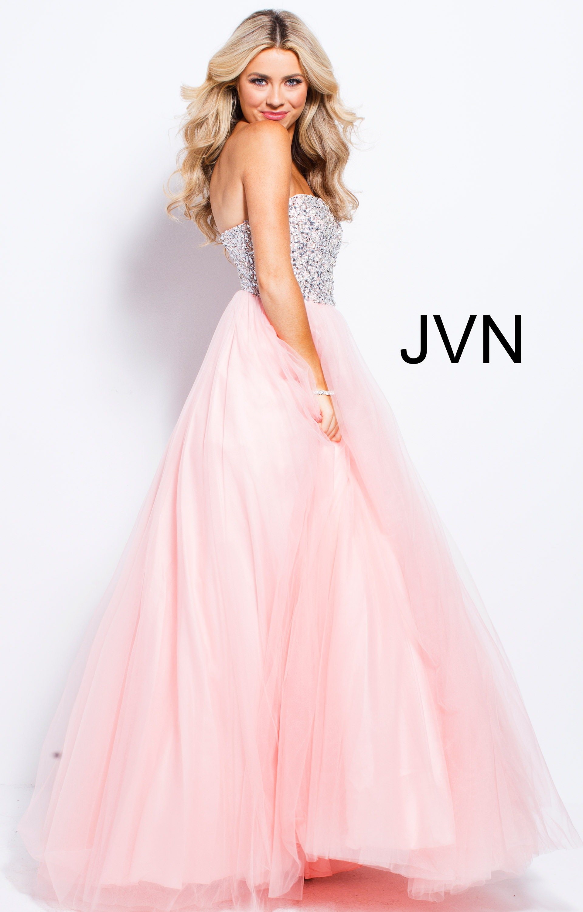 Jovani jvn52131 - Strapless Beaded Sequins Tulle Ball Gown