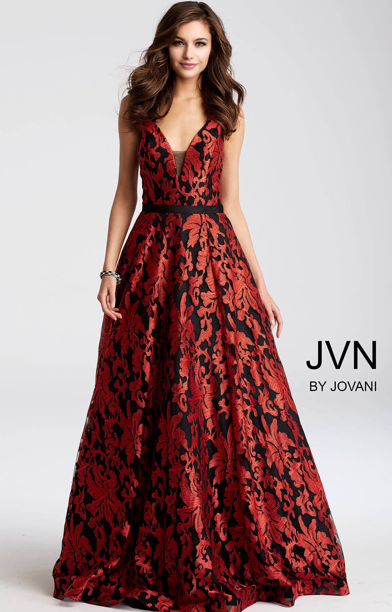 Jovani jvn55932 - V-Neckline Printed Ball Gown Dress Prom Dress