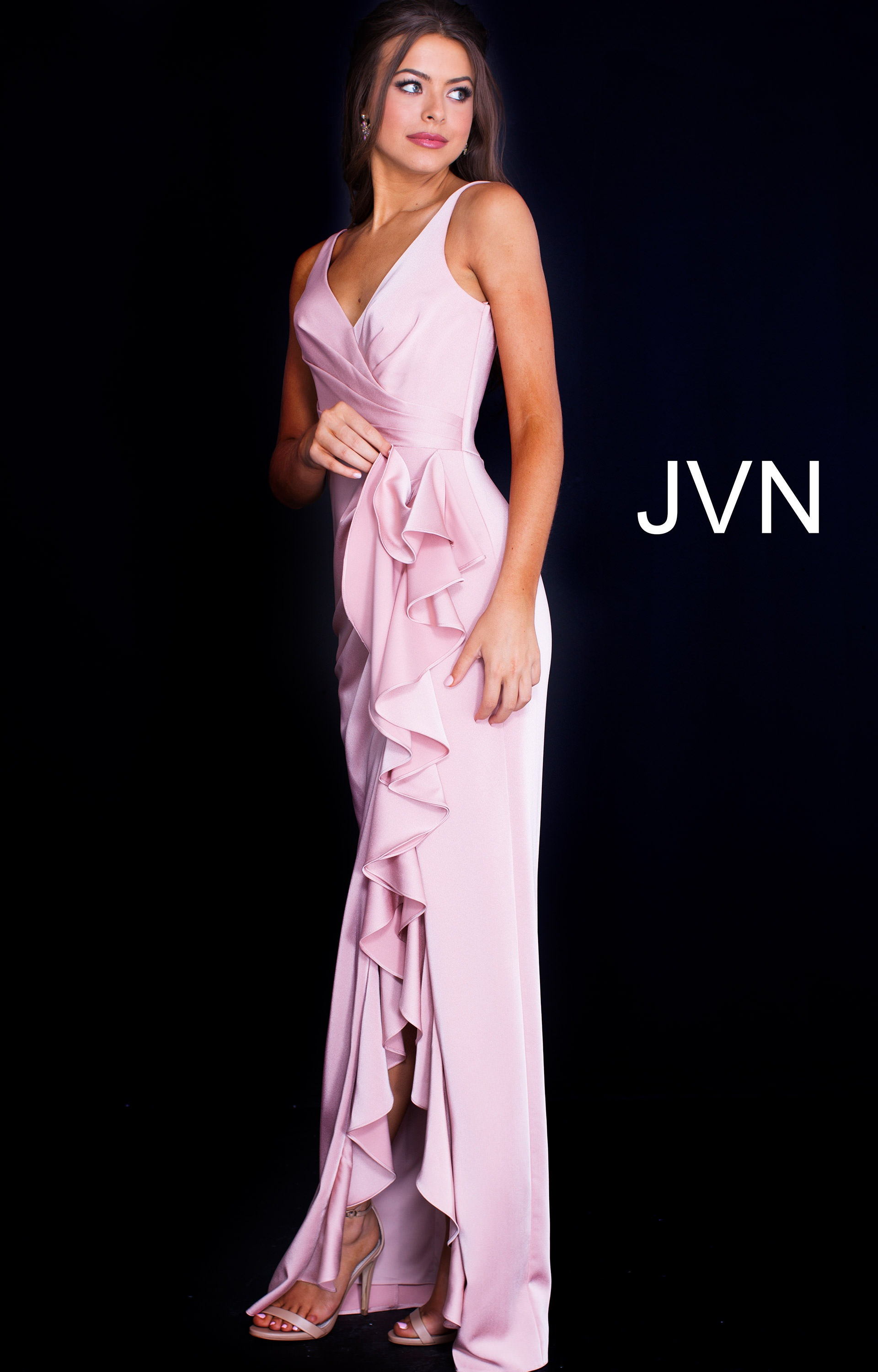 Jovani jvn60055 - Long Fitted Crepe V-Neck Prom Dress