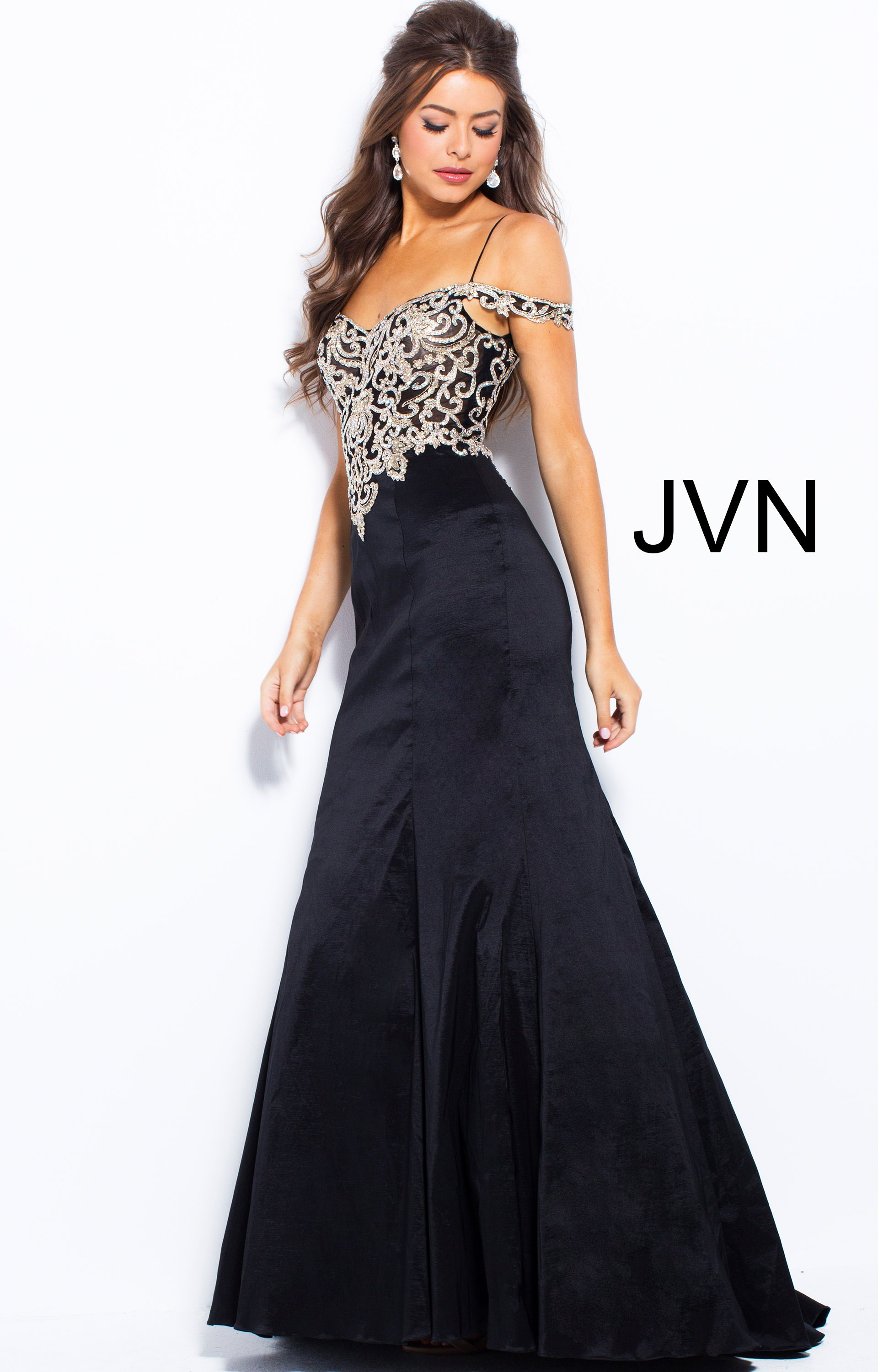 d381e6b580869 Jovani jvn60204 - Long Fitted Off the Shoulder
