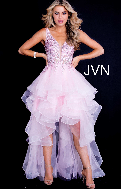 Jovani Jvn60563 Ruffled High Low V Neckline Dress Prom Dress