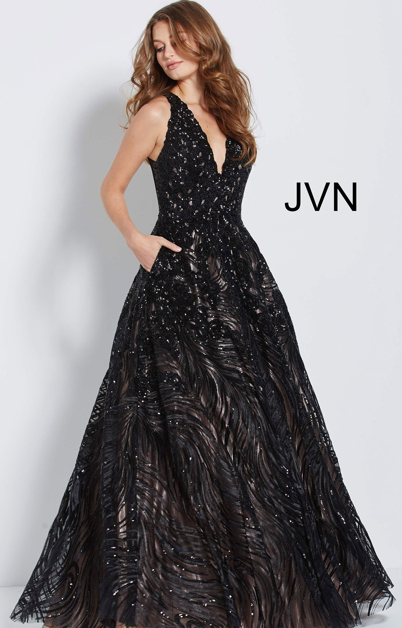 Jovani Jvn60641 V Neckline Sequin Long Dress With