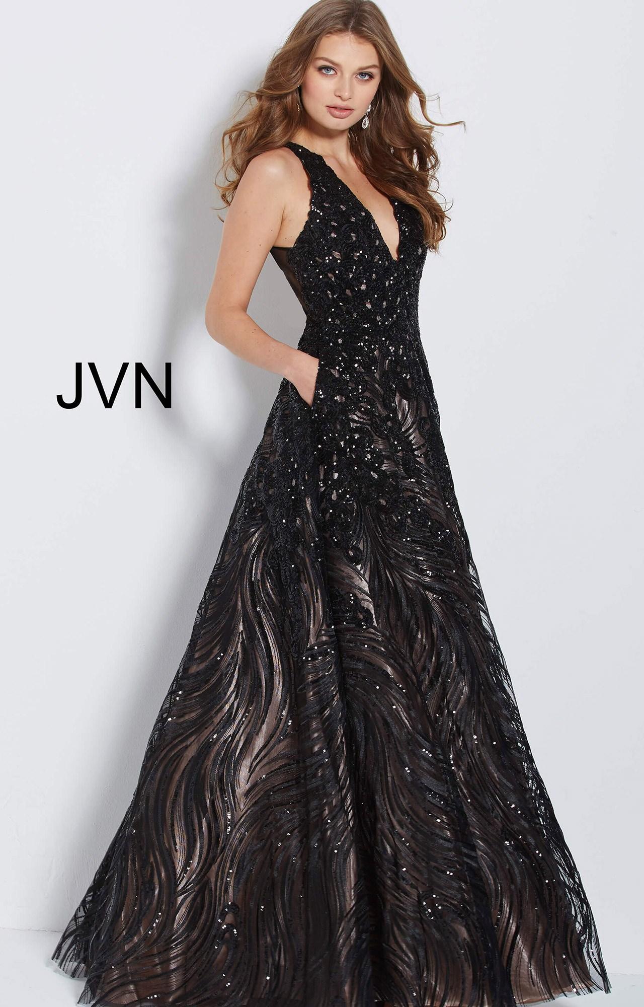 Jovani Jvn60641 V Neckline Sequin Long Dress With