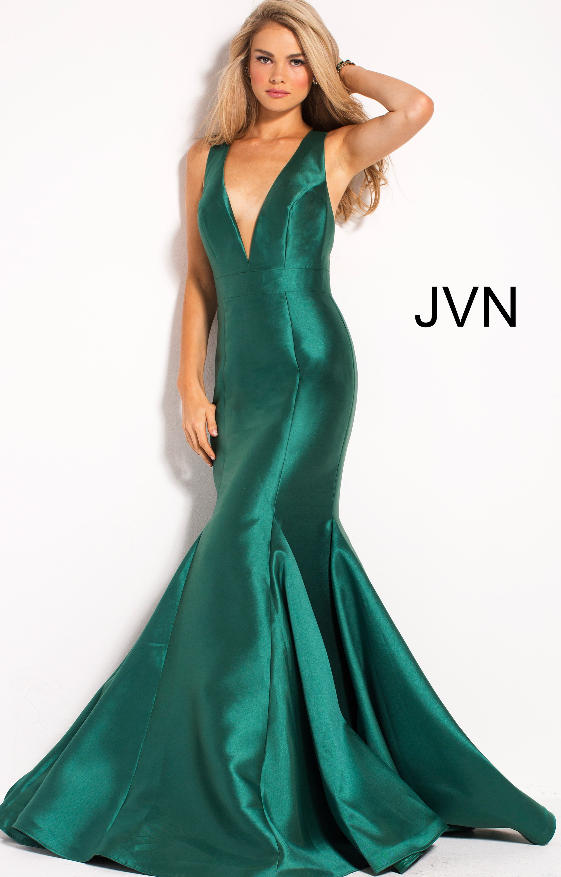 Jovani Jvn60917 Mermaid V Neckline Open Back Satin Dress Prom Dress