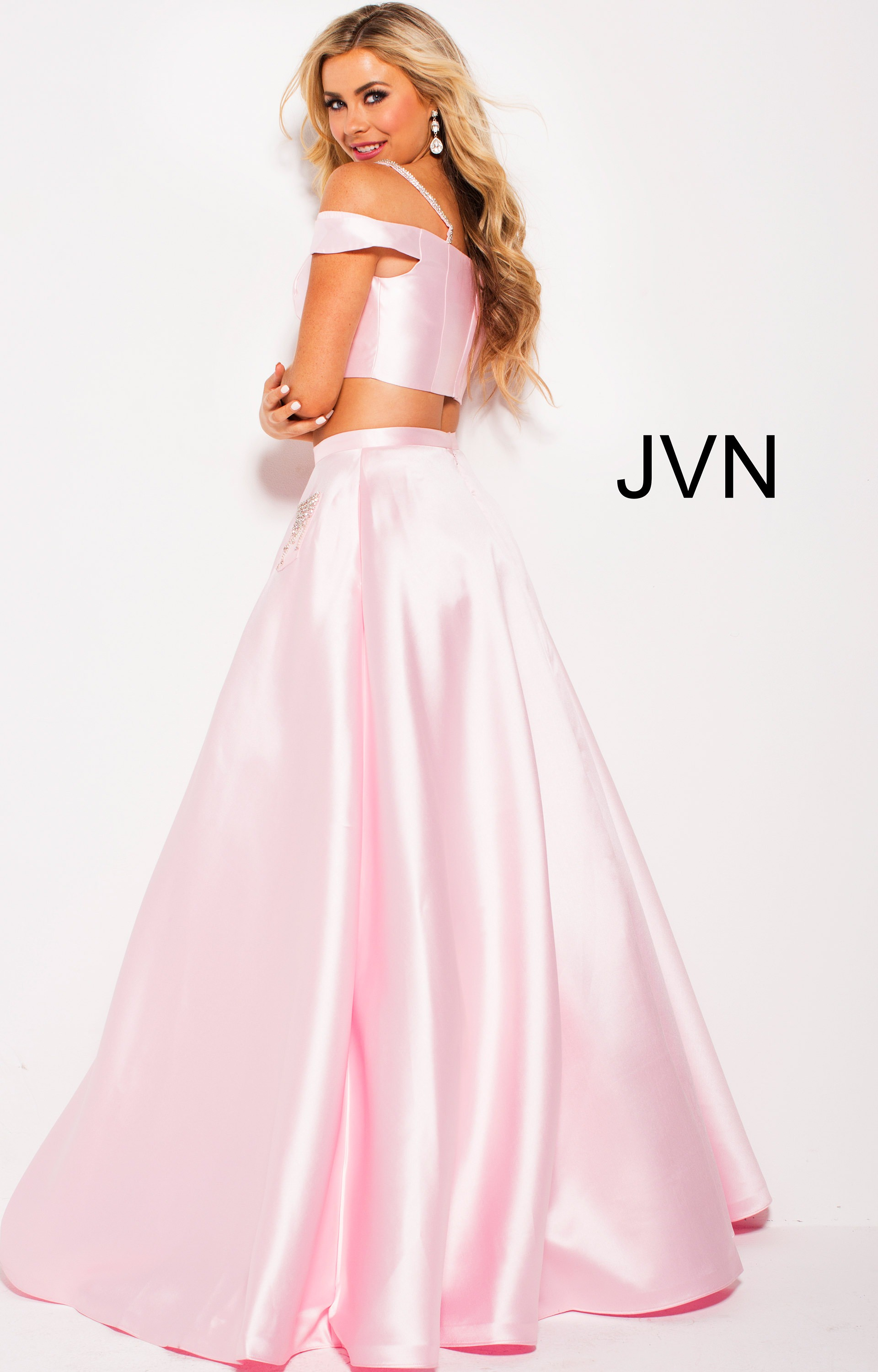 fba60c54837285 Jovani jvn61190 - Off the Shoulder Two-Piece Ball Gown Style Dress