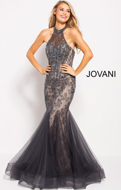 High Neckline Beaded Lace Mermaid Dress