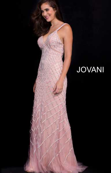 Jovani 55821 Has Straps and V-Shape picture 1
