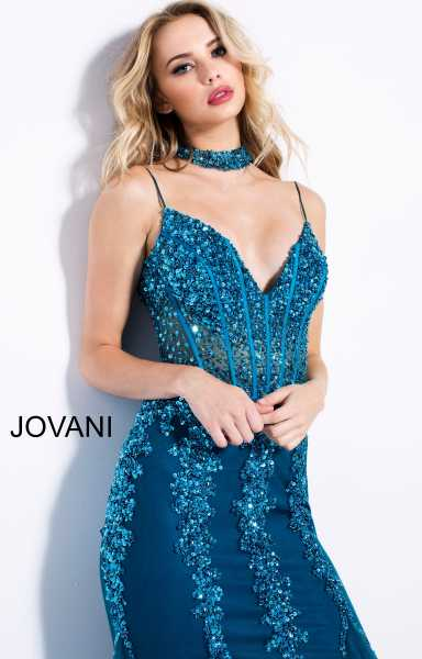 Jovani 56032 Has Straps and V-Shape picture 1