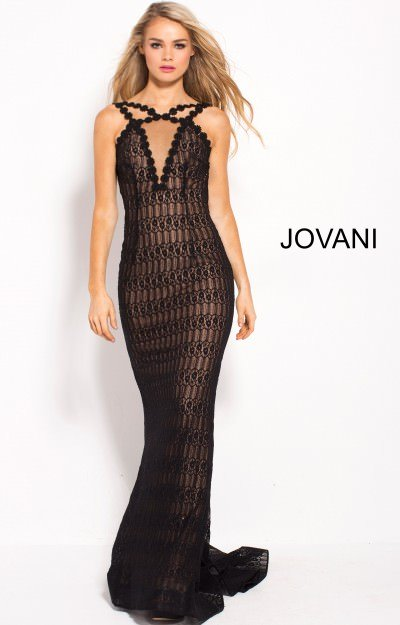Long Fitted Lace Open Back Evening Dress