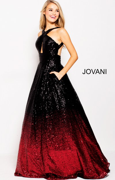 Sparkling Sequin Open Back Ball Gown Dress