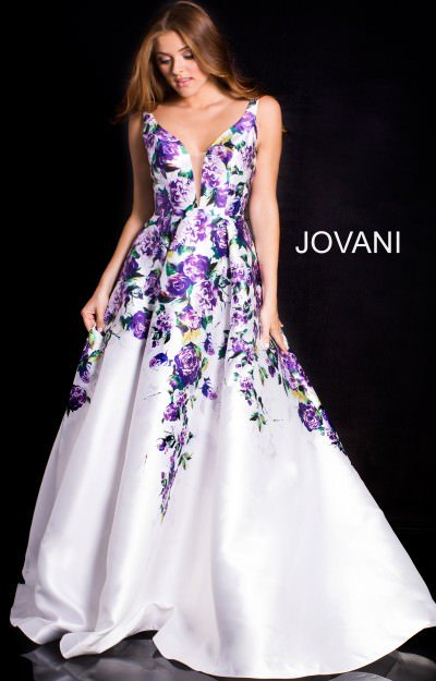 V-Neckline Floral Printed Sleeveless Ball Gown