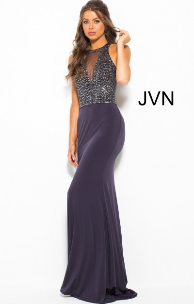 High Neckline Beaded Bodice Fitted Jersey Dress