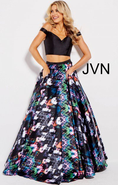 2 Piece Off the shoulder Printed Ball Gown