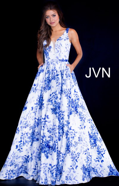 Printed Ball Gown V-Neckline Dress