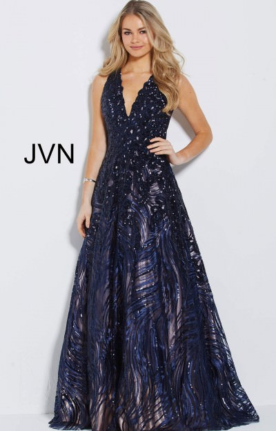 V-Neckline Sequin Long Dress with Pockets