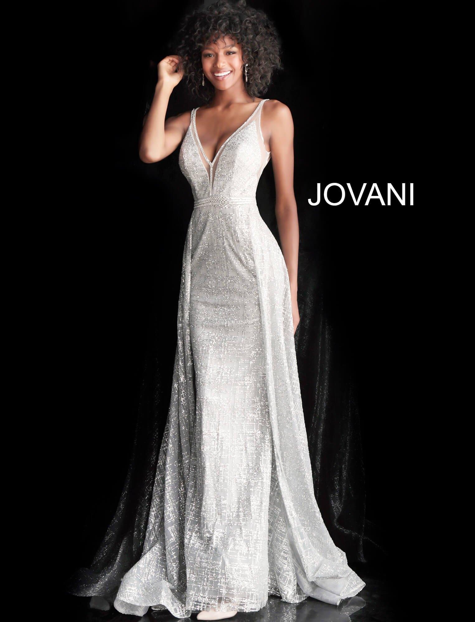 1193a6aeba2 Jovani 62515 - Glittery Deep V-Neck With Cape Prom Dress