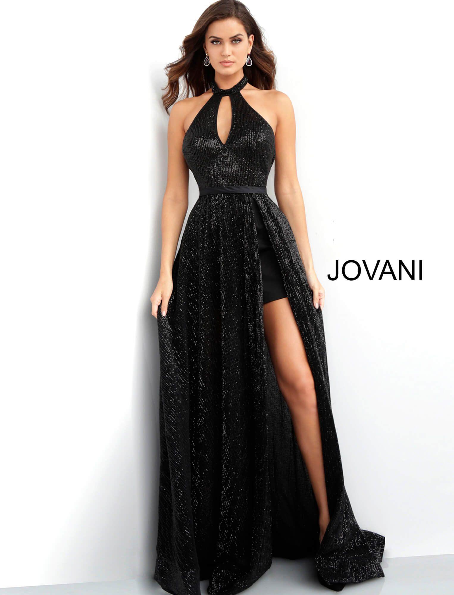de728605 Jovani 63330 - Key Hole Opening Front Long Glitter Dress