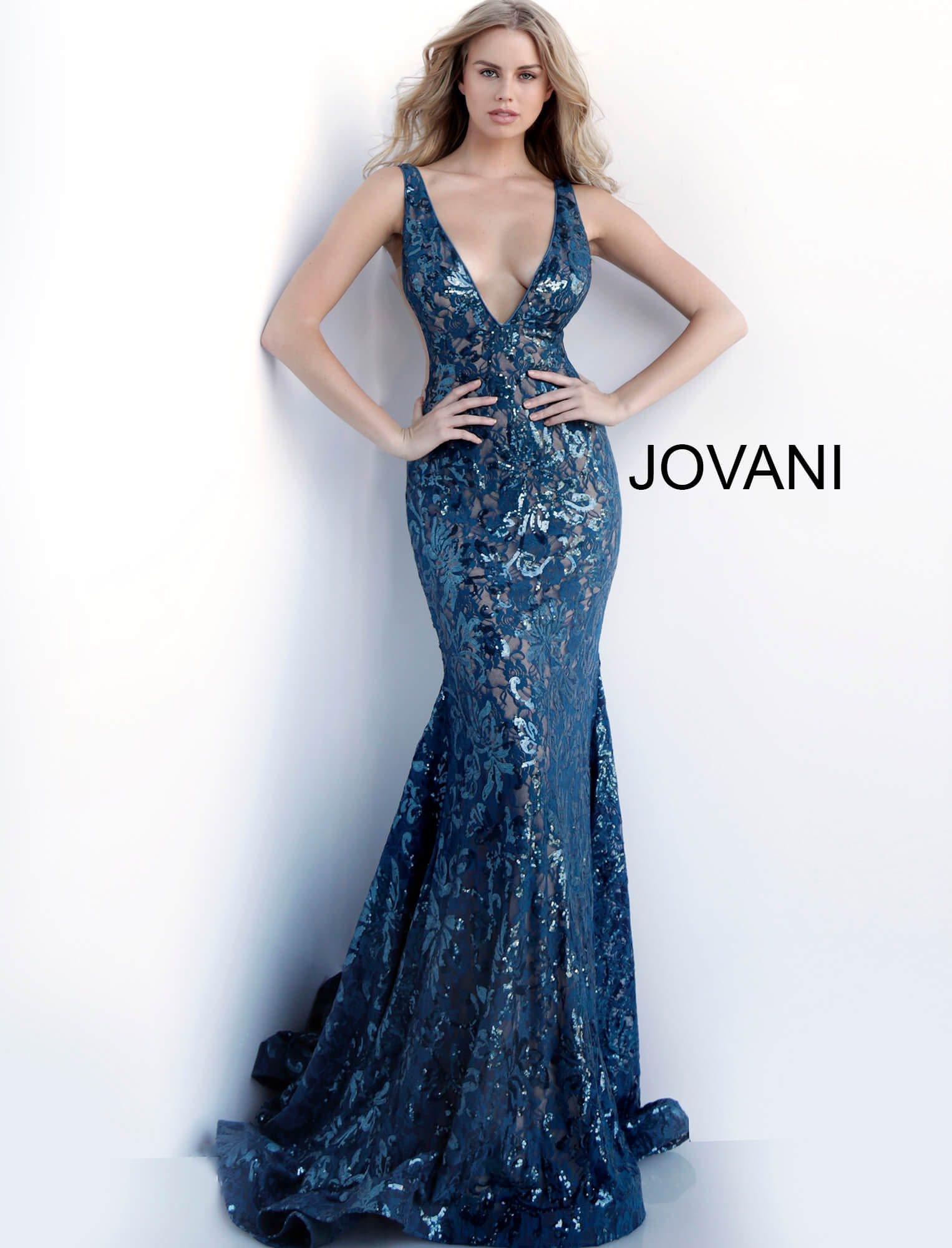 2ec760b6 Jovani 63437 - V-Neckline Sequin Open Back Mermaid Dress