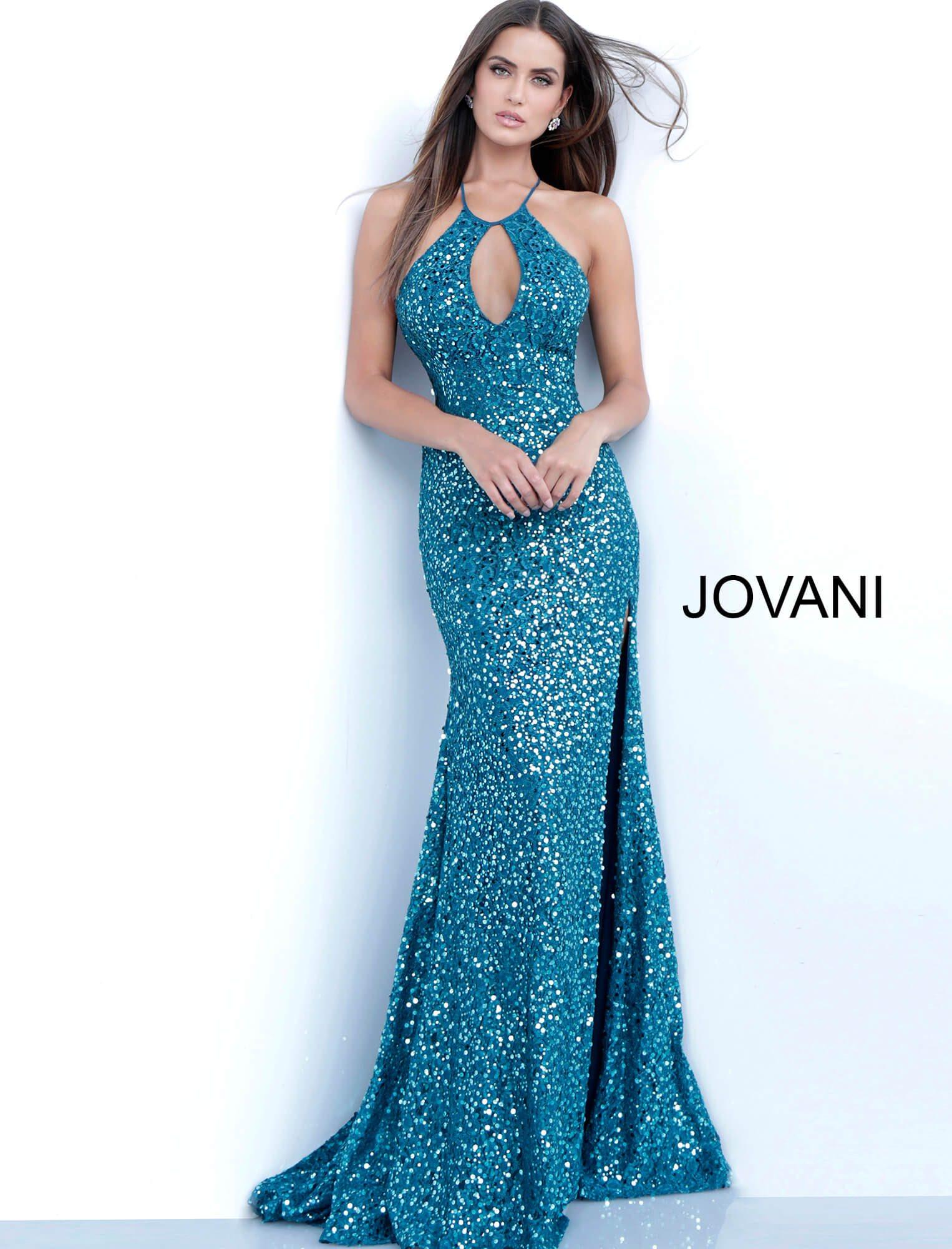 ab5b668b Jovani 63493 - Key Hole Opening Sequin Open Back Shimmer Dress