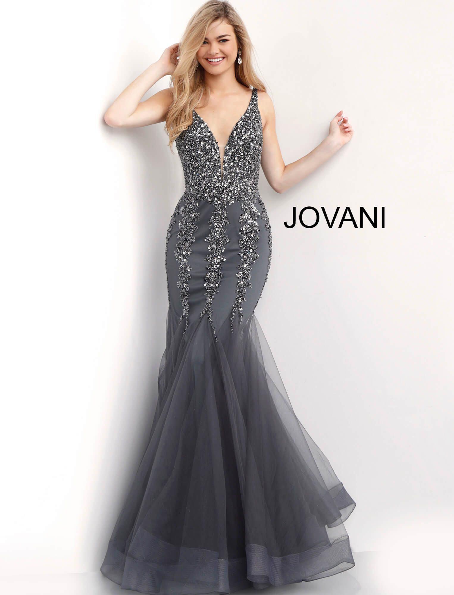 b12c3c79b5b Jovani 63700 - V-Neckline Sexy Form Fitted Sparkling Mermaid Dress