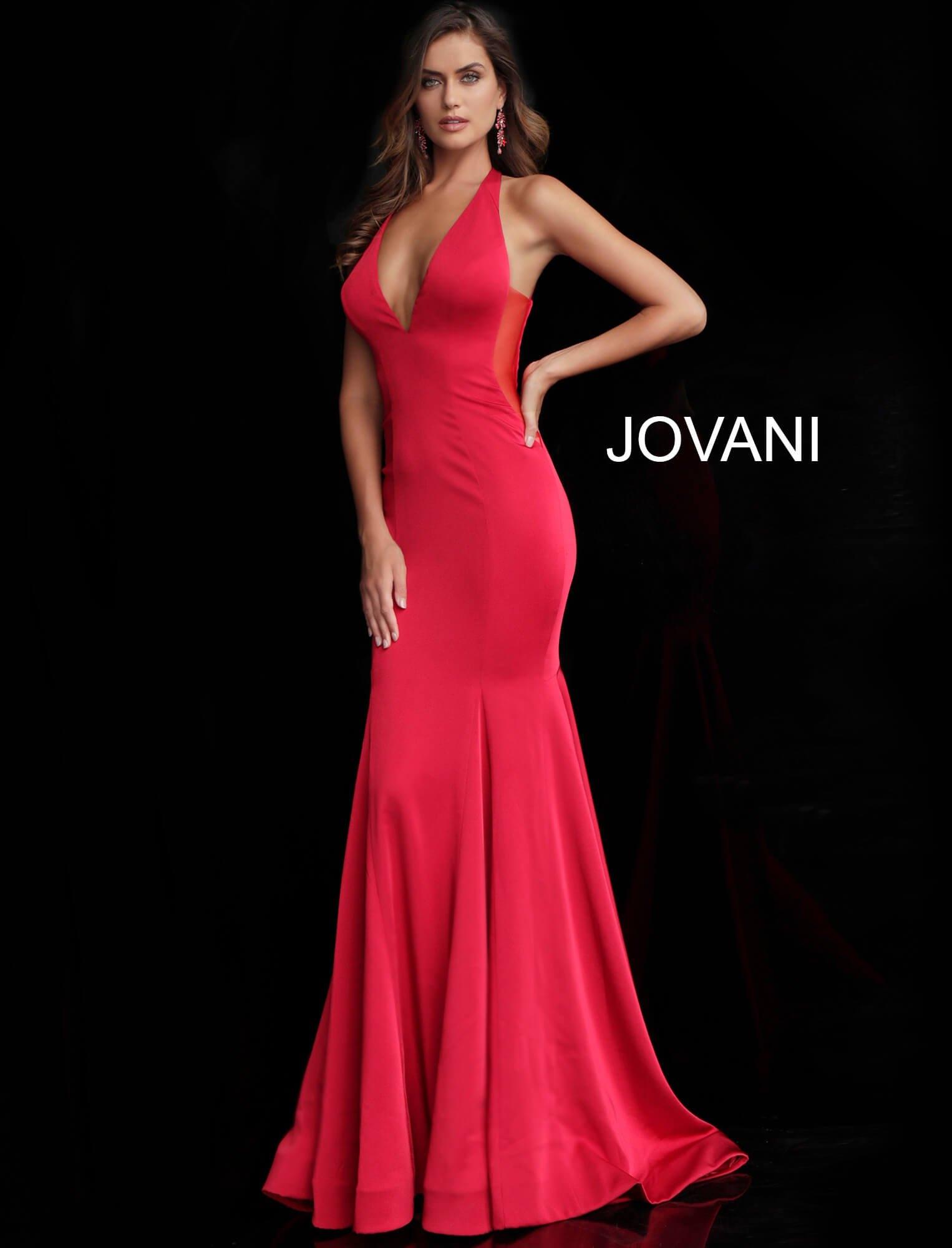 667b8af5acfe3 Jovani 64003 - Halter Neckline Open Back Simple Mermaid Dress