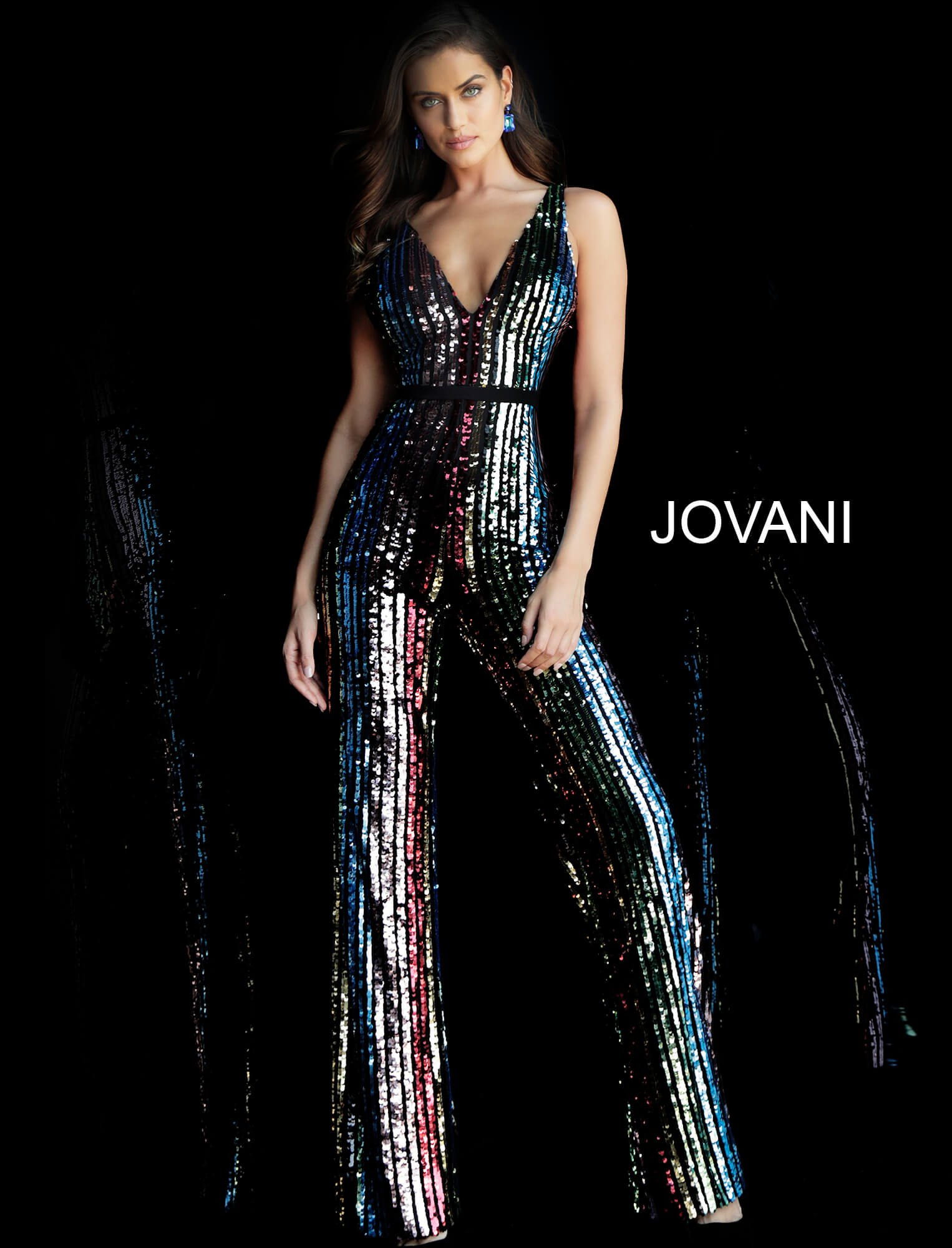 Jovani 65396 Sexy Sequin Formal Romper Jumpsuit Prom Dress