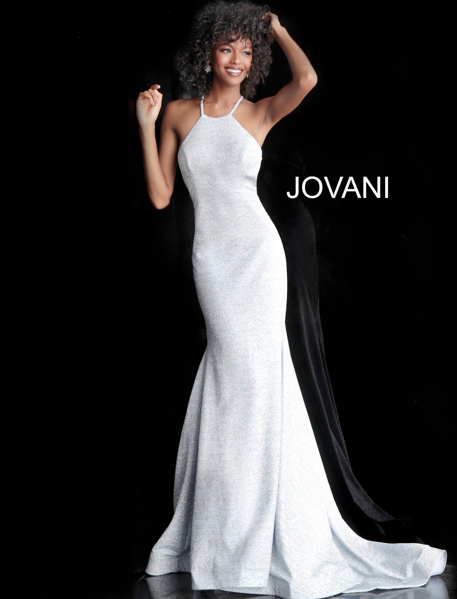 e383121c Jovani 65416 - High Neckline Fitted Glitter Mermaid Dress