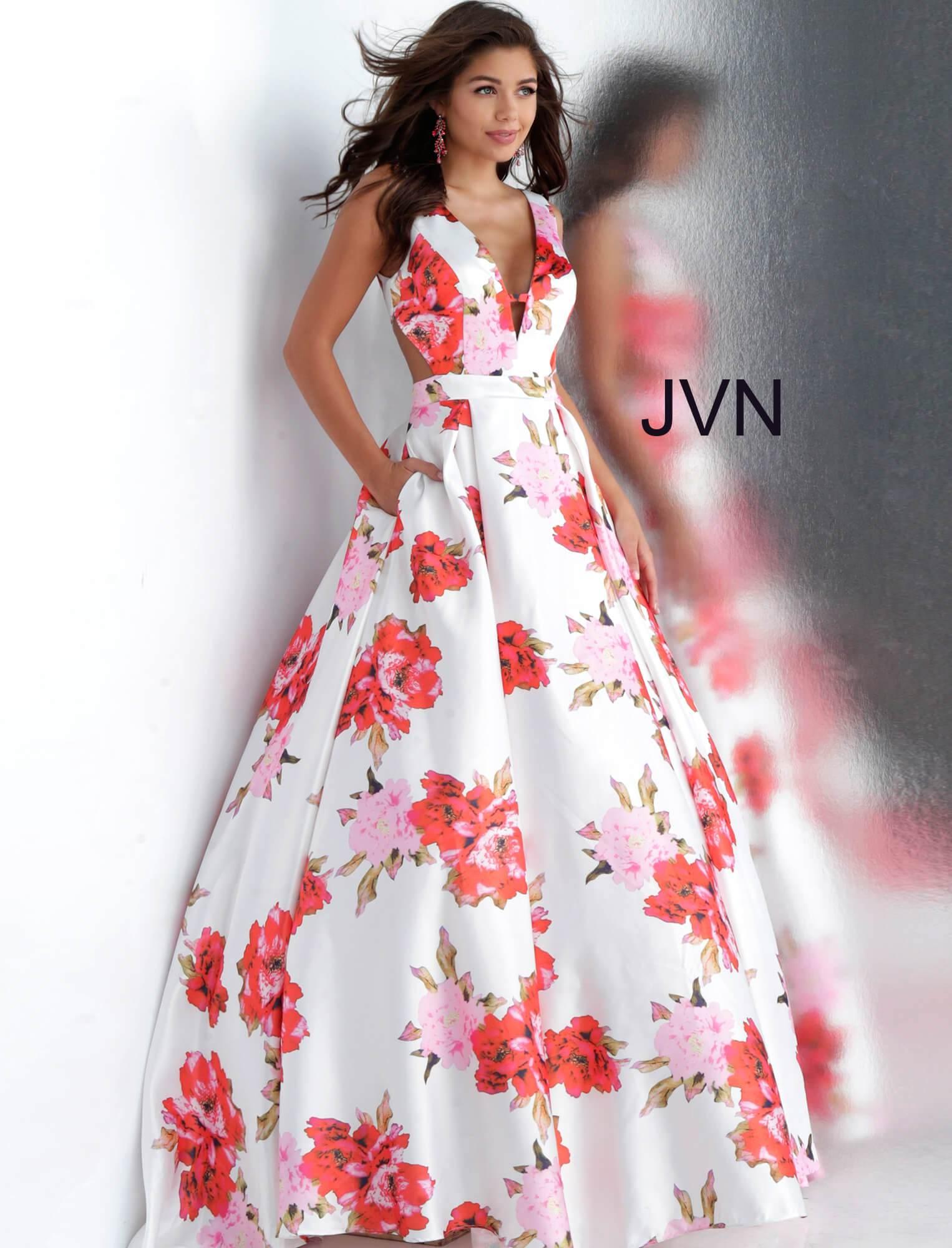 26e03c4d01 Jovani jvn66721 - Deep V-Neck Floral BallGown With Pockets Prom Dress