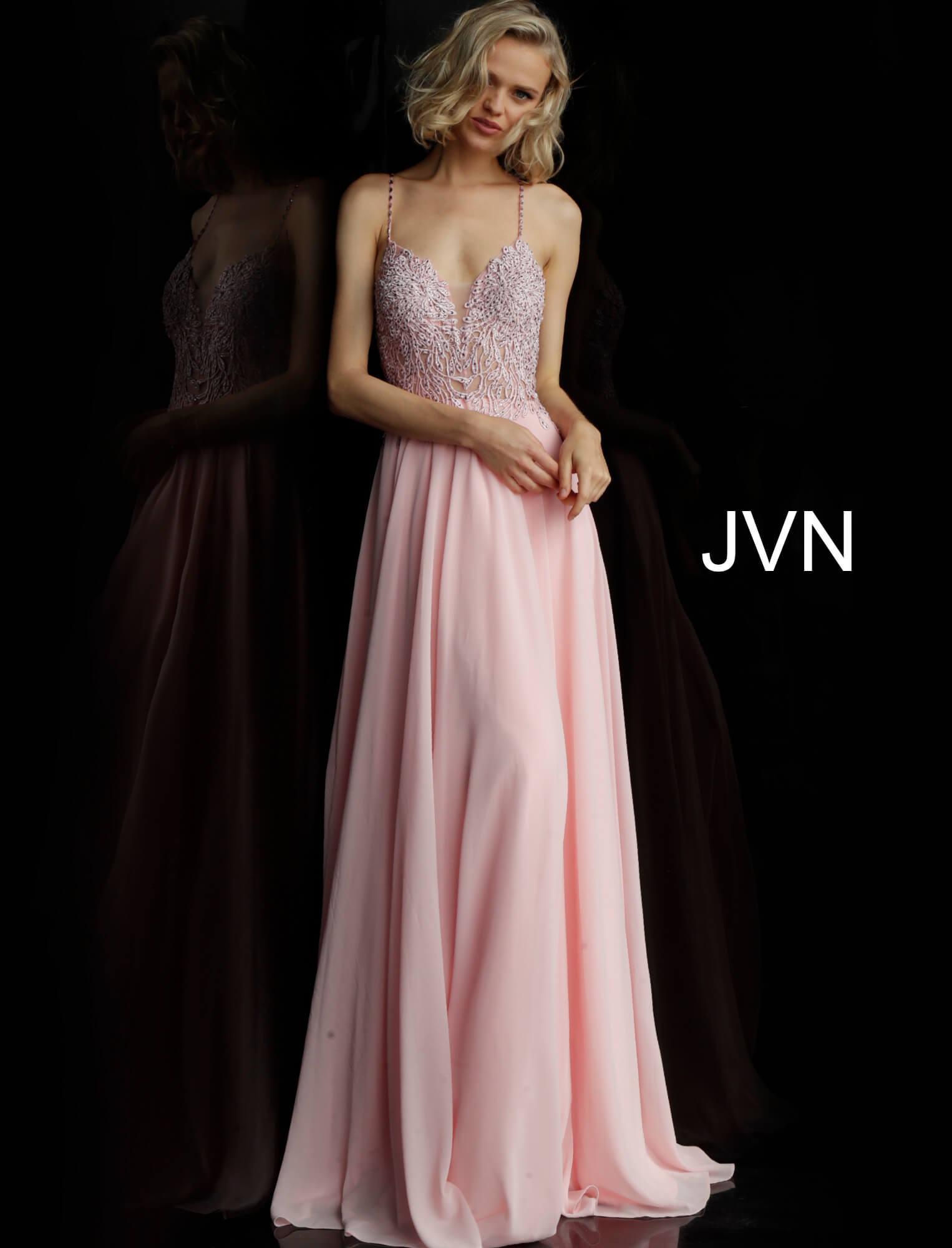 b631181750dd Jovani jvn67066 - V-Neckline Lace Bodice Long Chiffon Dress