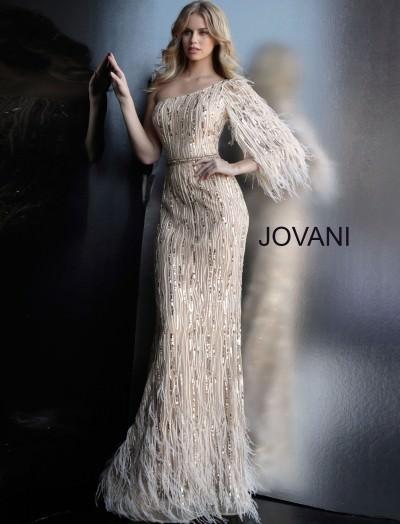 b40f84c3182d One Shoulder Sequin Feather Long Evening Dress $900.00