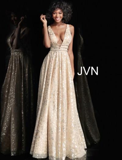 d012712c39ab Shimmering V-Neckline Open Back Long Evening Dress $485.00