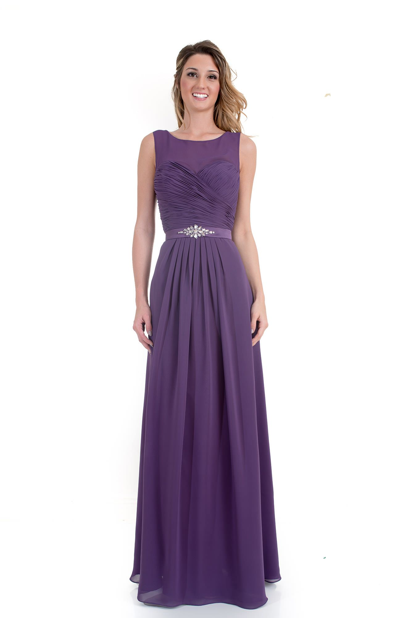 Kanali K 1694 - A-Line Ruched Chiffon Dress