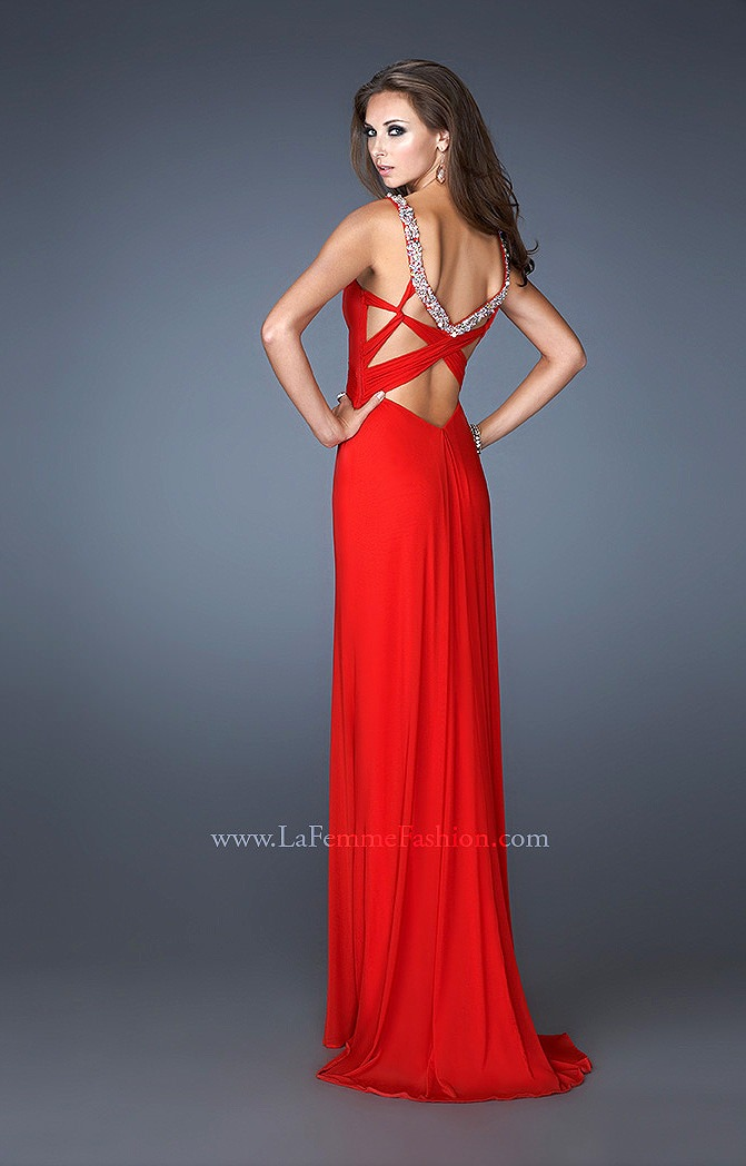 La Femme 18825 Beaded Straps With Crisscross Back Prom Dress