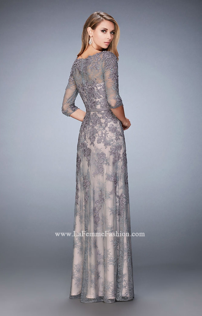 La Femme 21740 Three Quarter Sleeve Lace Gown Prom Dress
