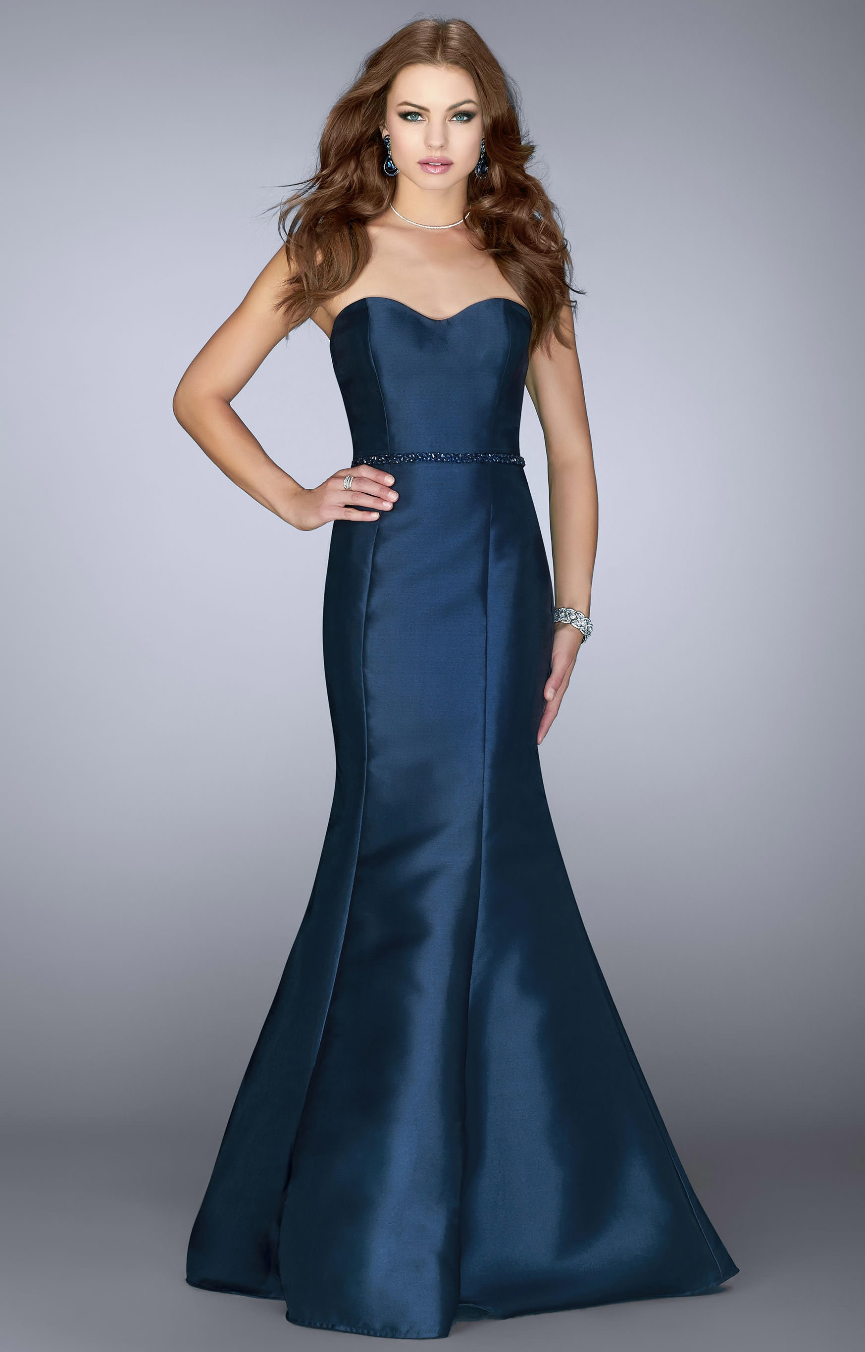 Luxury Navy Blue Beaded A Line Prom Dress With Sheer Neck
