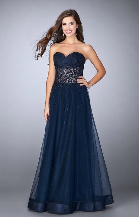 La Femme 22964 Lace A Line Gown With Horse Hair Trim
