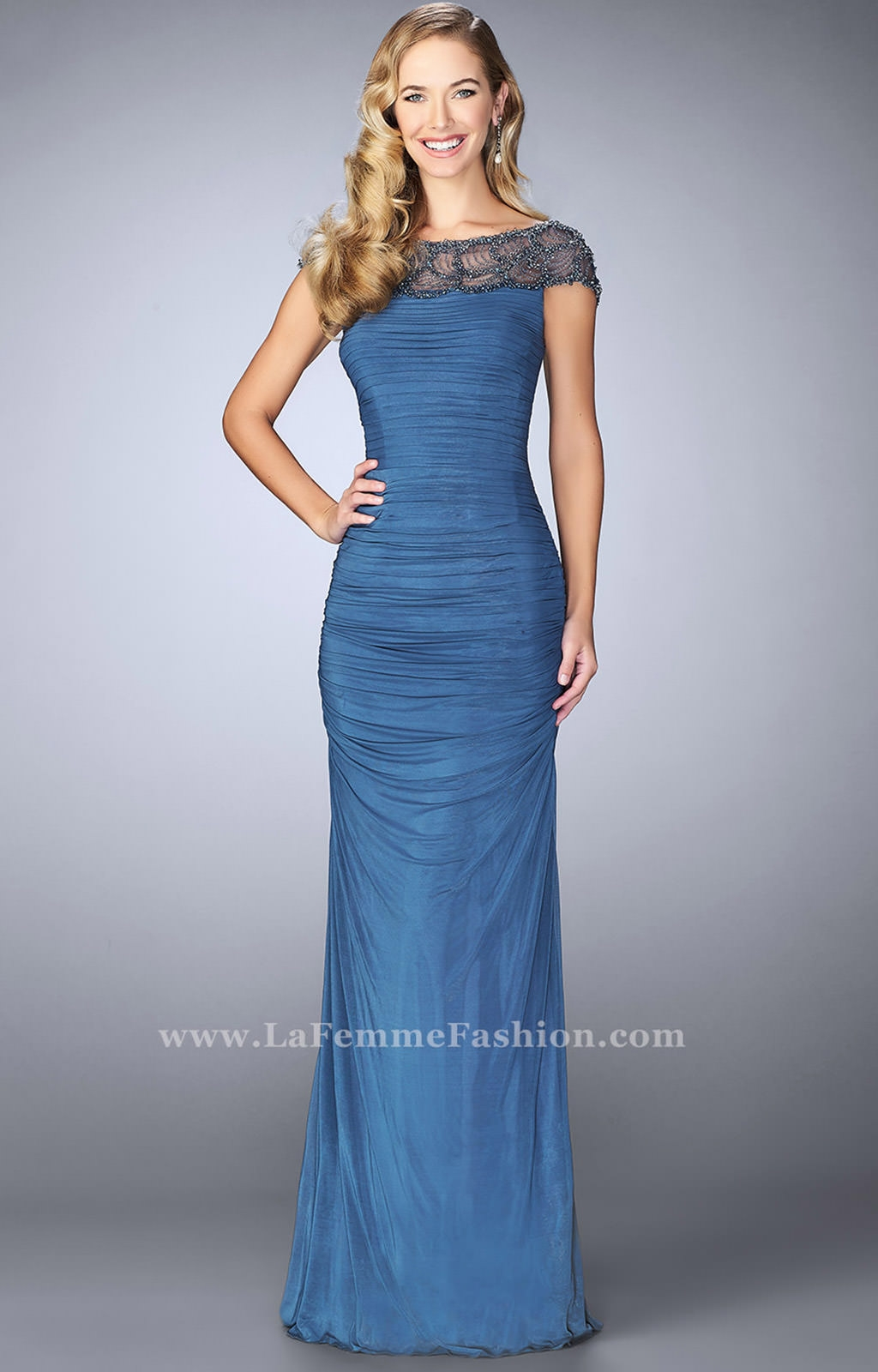 La Femme 23215 - Boat Neck Cap Sleeve Fitted Dress Prom Dress